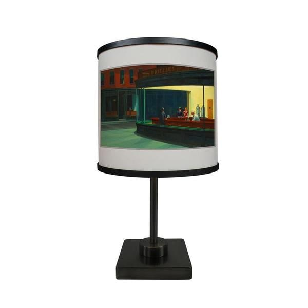 ArtLight 'Nighthawks by Edward Hopper' More Than A Lamp, Framed Art Now Comes Down From The Wall - Double Square - 17 x 9