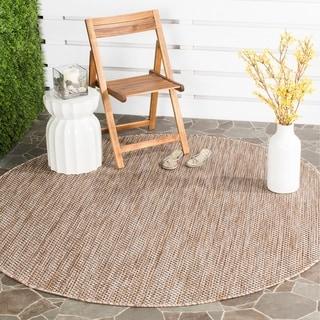 Safavieh Indoor / Outdoor Courtyard Natural / Black Rug (6' 7 Round)