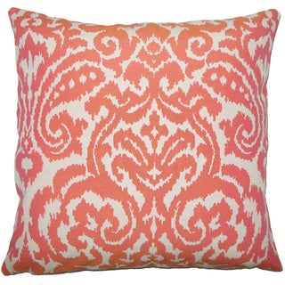 Wafai Ikat 22-inch Down Feather Throw Pillow Coral