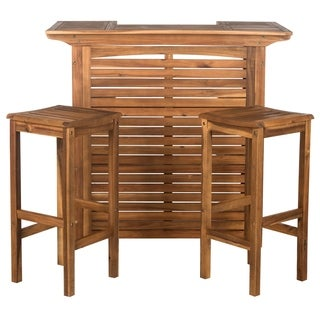 Safavieh Pompano Teak Brown Bar W/ Stools
