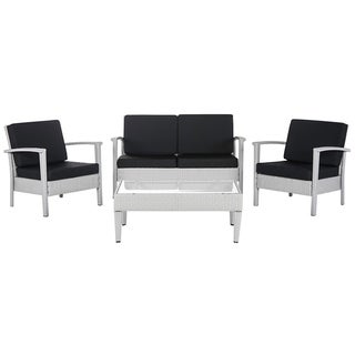 Link to Safavieh Piscataway Grey/ Black 4 Pc Set Similar Items in Outdoor Sofas, Chairs & Sectionals