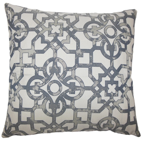 "Garrick Geometric 22"" x 22"" Down Feather Throw Pillow Pewter"