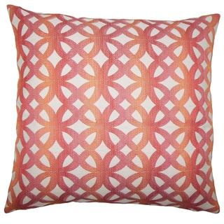 Heulwen Geometric 22-inch Down Feather Throw Pillow Coral