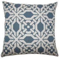 Rafer Geometric 22-inch Down Feather Throw Pillow Pacific