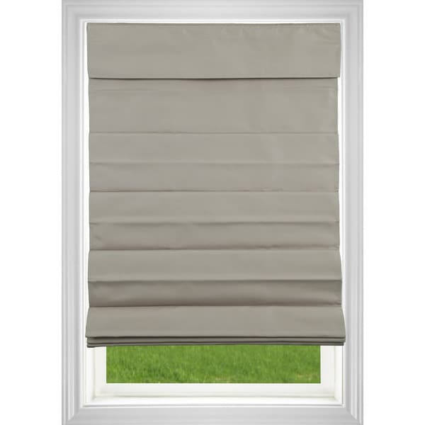 Room Darkening Cordless Fabric Roman Shade in Khaki