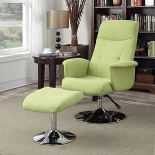 Handy Living Dahna Kiwi Green Linen Chair and Ottoman