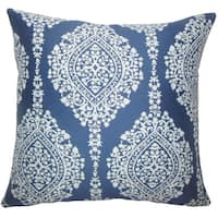Zanthe Damask 22-inch Down Feather Throw Pillow Lapis