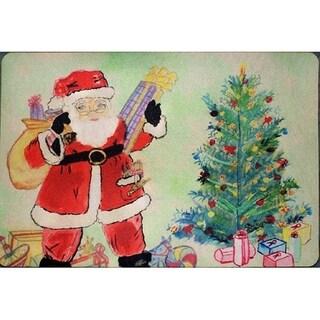 Betsy Drake Santa and Christmas Tree Door Mat (18-inch x 26-inch)