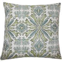 Esadowa Damask 22-inch Down Feather Throw Pillow Aqua Green