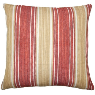Ferlin Striped 22-inch Down Feather Throw Pillow Cayenne