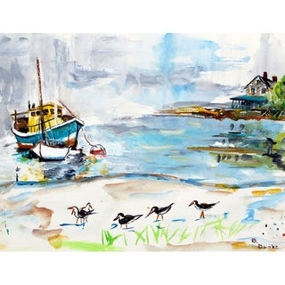 Betsy Drake Boats and Sandpipers Doormat (1'6 x 2'2)