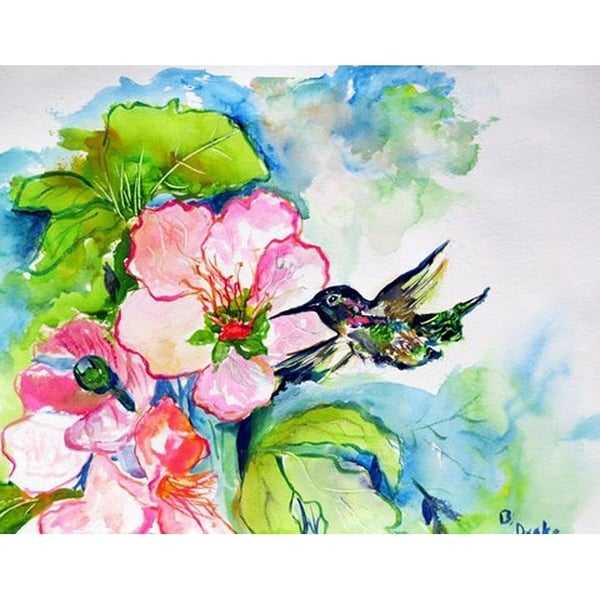 Betsy Drake Hummingbird and Hibiscus Door Mat (18-inch x 26-inch)
