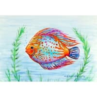 Betsy Drake 'Orange Fish' Door Mat (18 Inch x 26 Inch)