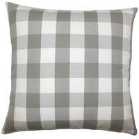 Nelson Plaid 22-inch Down Feather Throw Pillow Iron