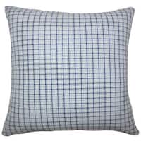 Quora Plaid 22-inch Down Feather Throw Pillow Blue