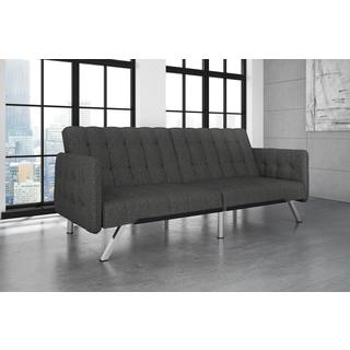 Avenue Green Ella Tufted Grey Linen Convertible Futon