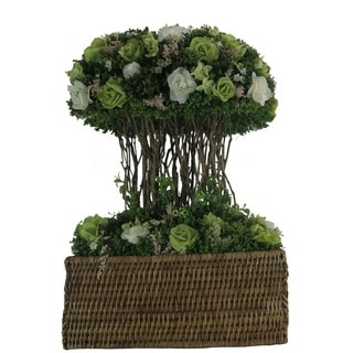Spring Mix Rose Centerpiece - White / Mint Green Roses