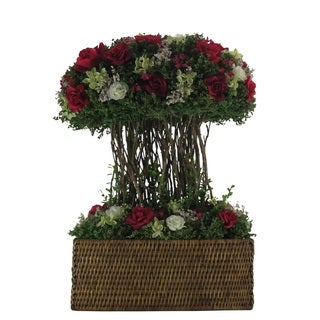 Spring Mix Rose Centerpiece - Cream / Red Roses
