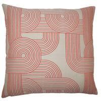 Utara Geometric 22-inch Down Feather Throw Pillow Tangerine