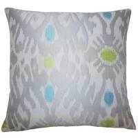 Yagmur Ikat 22-inch Down Feather Throw Pillow Grey