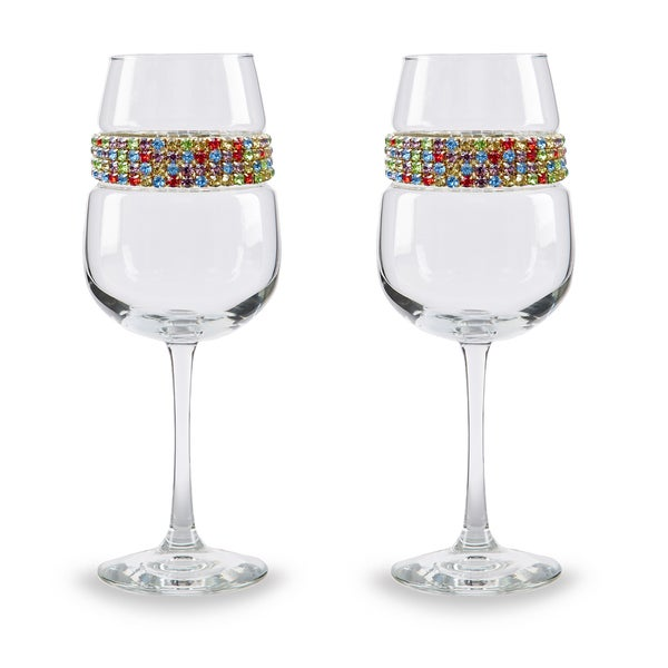 Shimmering Wines by Stemware Designs Wine Glasses in Confetti (Set of 2)