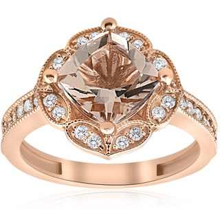 14K Rose Gold 2 1/3ct TW Cushion Morganite & Diamond Vintage Halo Engagement Ring (I-J,I2-I3)
