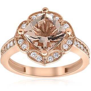 14K Rose Gold 2 1/3ct TW Cushion Morganite & Diamond Vintage Halo Engagement Ring (I-J,I2-I3)