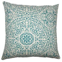 Kiasax Damask 22-inch Down Feather Throw Pillow Teal