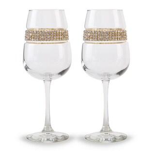 Shimmering Wines by Stemware Designs Gold Wine Glasses (Set of 2)
