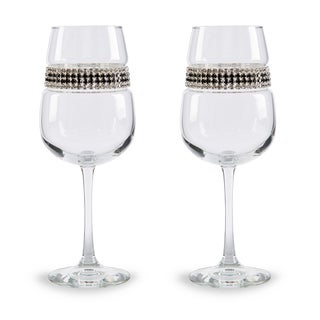 Shimmering Wines by Stemware Designs Wine Glasses in Black Tie (Set of 2)