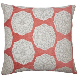 Quitzal Geometric 22-inch Down Feather Throw Pillow Coral