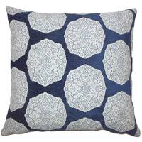 Quitzal Geometric 22-inch Indigo Down Feather Throw Pillow