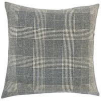 Ralston Plaid 22-inch Down Feather Throw Pillow Grey