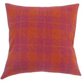 Felician Plaid 22-inch Down Feather Throw Pillow Pink