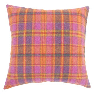 Heaton Plaid 22-inch Down Feather Throw Pillow Pink