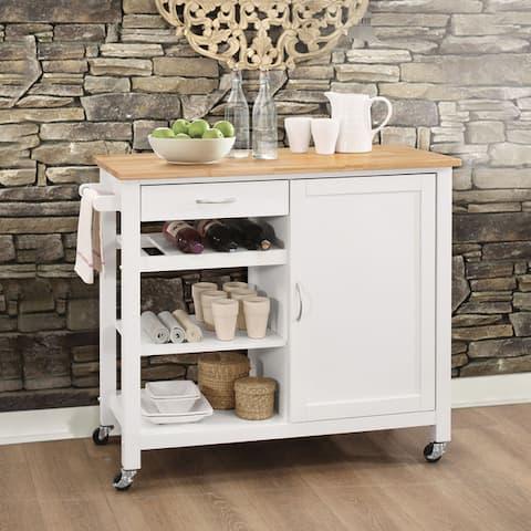 Porch & Den Sanborn White/ Black MDF Kitchen Cart