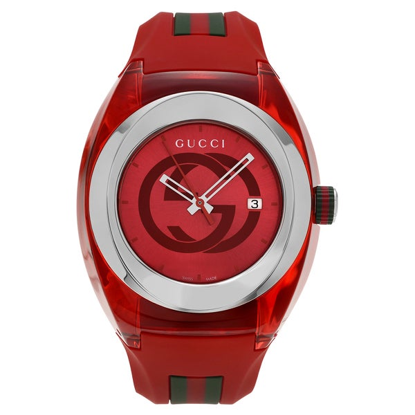 83bf2dde9e4 Gucci Unisex YA137103   x27 Sync XXL  x27  Stainless Steel Red Transparent