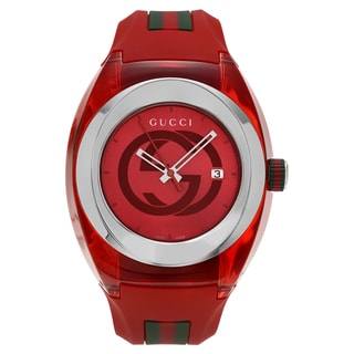 Gucci Unisex YA137103 'Sync XXL' Stainless Steel Red Transparent Case Strap Watch