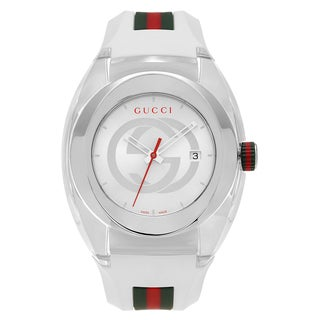 Gucci Unisex YA137102 'Sync XXL' Stainless Steel Transparent Case White Strap Watch