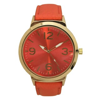 Olivia Pratt Women's Bold Numbers Textured Band Leather Watch One Size