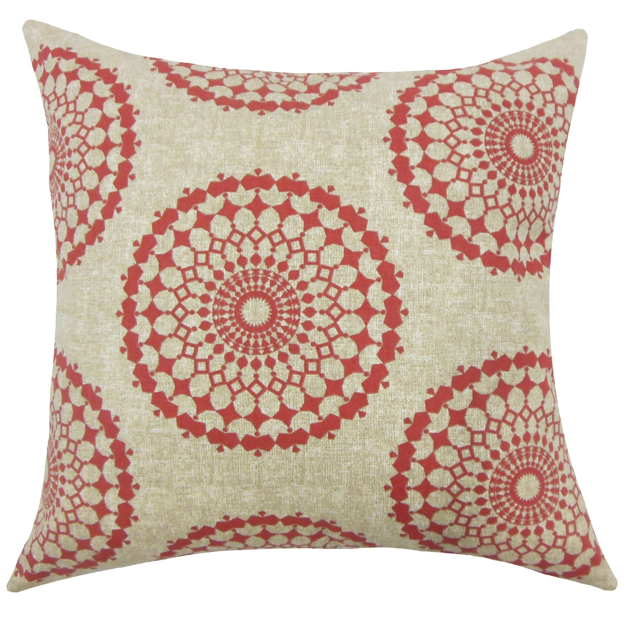 Elyes Geometric 22 Inch Down Feather Throw Pillow Pomegranate Overstock 15266672