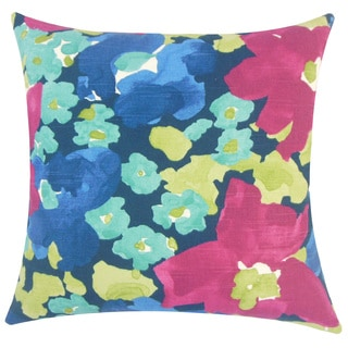 Qing Floral 22-inch Down Feather Throw Pillow Fuchsia
