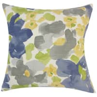 Qing Floral 22-inch Down Feather Throw Pillow Greystone