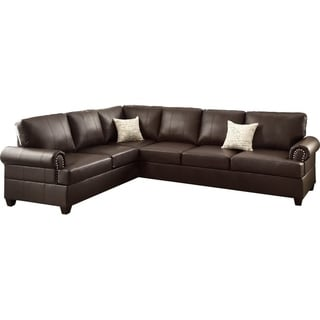 Bobkona Cady Bonded Leather Left or Right Hand Reversible Sofa and Chaise