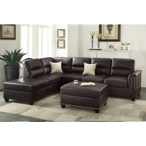3 Piece Sectional Sofa,Brown