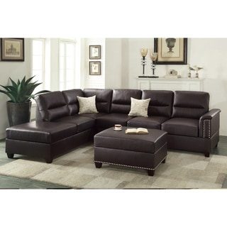 Bobkona Toffy Left or Right Hand Chaise Sectional with Ottoman Set