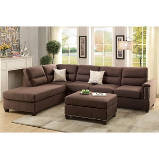 Bobkona Toffy Left or Right Hand Chaise Sectional with Ottoman Set (3 options available)