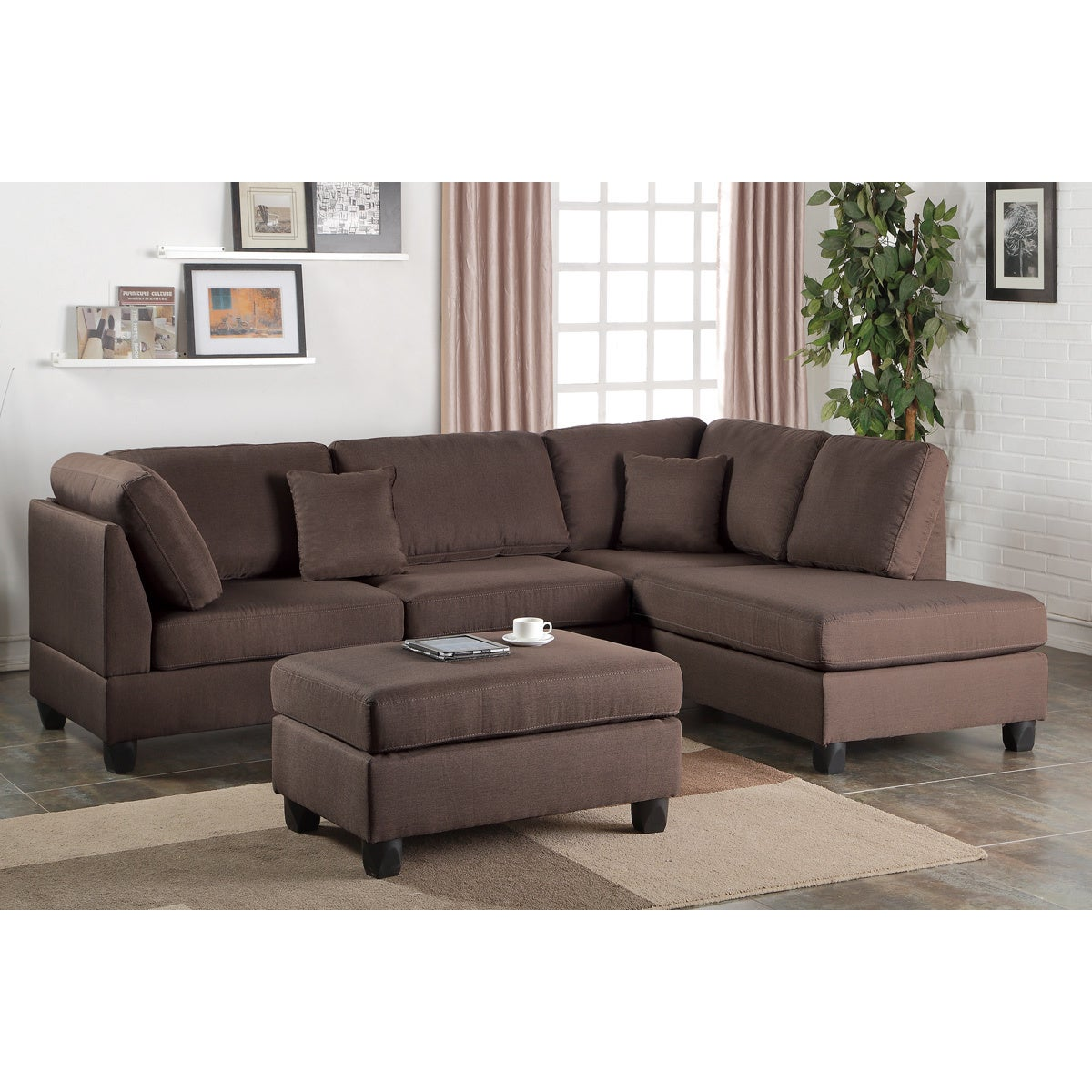reputable site 57167 12845 Bobkona Dervon Linen-Like Left or Right hand Chaise Sectional Set with  Ottoman