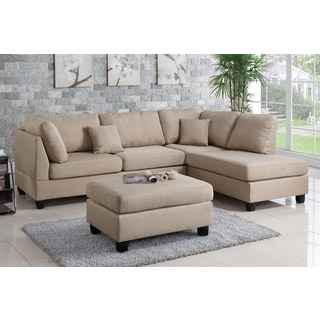 Bobkona Dervon Linen-Like Left or Right hand Chaise Sectional Set with Ottoman