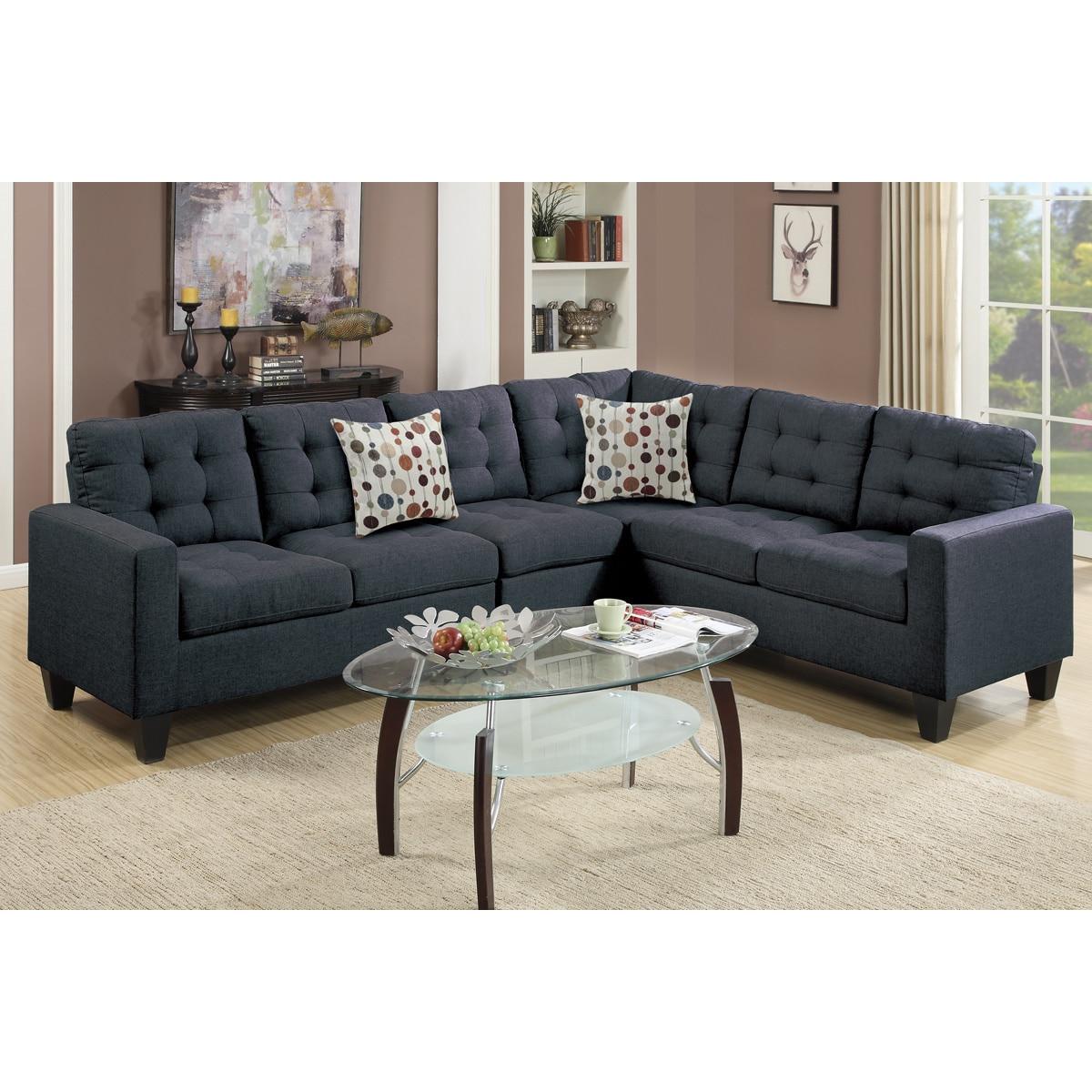 Outstanding Linen Like Upholstered 4 Piece Left Or Right Hand Sectional Sofa Set Short Links Chair Design For Home Short Linksinfo